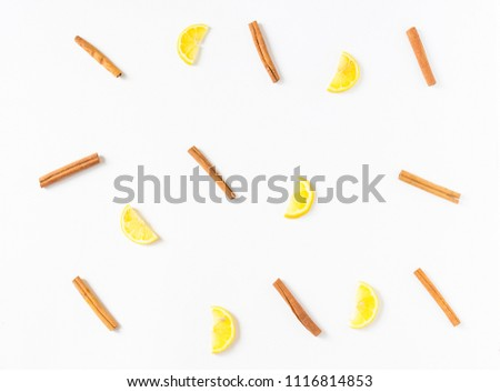 Soft focus group of Cinnamon sticks and half of yellow lemon, on white background isolated, herbe and vegetable concept, idea and disign ingrediants in kitchen #1116814853