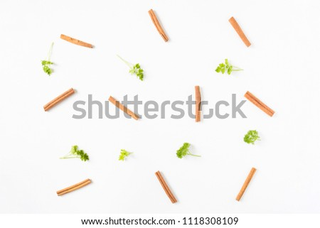 Soft focus group of Cinnamon sticks ,spice and pasley  on white background isolated, herbe and vegetable concept, idea and disign ingrediants in kitchen #1118308109