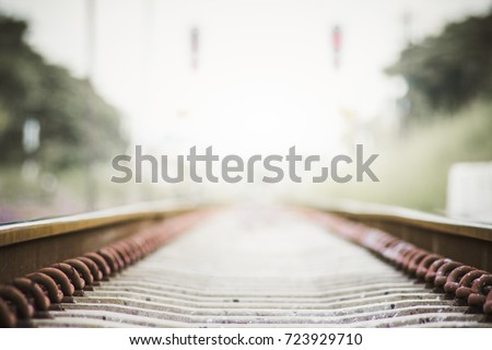 Soft focus,Look at the railroad heading forward to another distant destination. The white light that raced along the railroad.