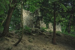 soft focus medieval castle ruins in forest landscape outdoor environment central European landmark scenic view