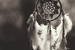 Soft focus on Dream Catcher with natural background in Sepia style. Native american dream catcher.