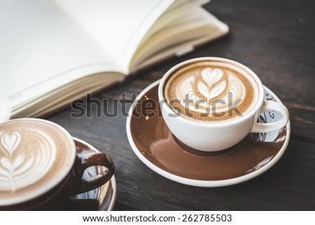 Soft focus on latte coffee cup - vintage effect process pictures