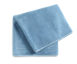 Soft folded towel isolated on white, top view