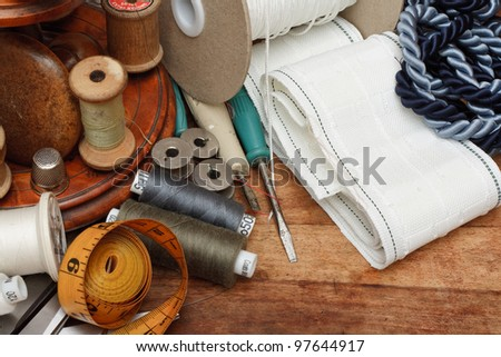 Soft Furnishing sundries on table - stock photo