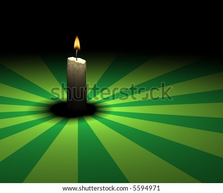 soft-glowing candle light on green retro texture - 3d render