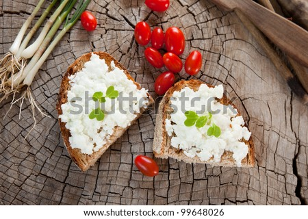 Soft goat cheese on bread or toast