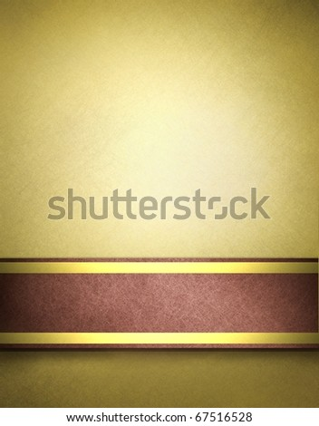 soft golden brown parchment background with slight grunge texture, red and gold ribbon stripes and copy space design layout to add your own text, image, title, or picture
