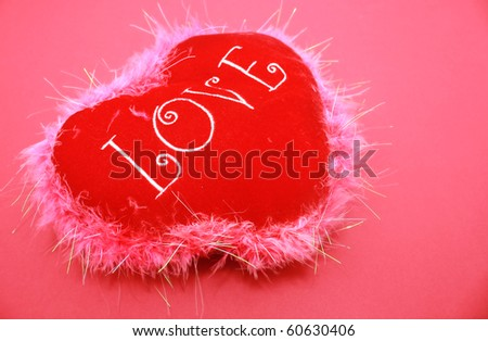 pink love heart background. stock photo : Soft Heart love cushion isolated on pink background
