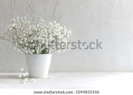 Soft home decor, vase with white small flowers on a white vintage wall background and on a wooden shelf. Interior. #1094850146