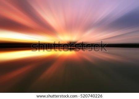 Soft motion blur sunset for background. #520740226