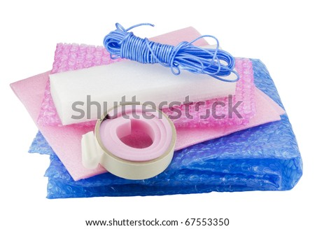 Soft packing material kit - film, foam rubber, sticky tape, rope. Isolated on white,  with patch