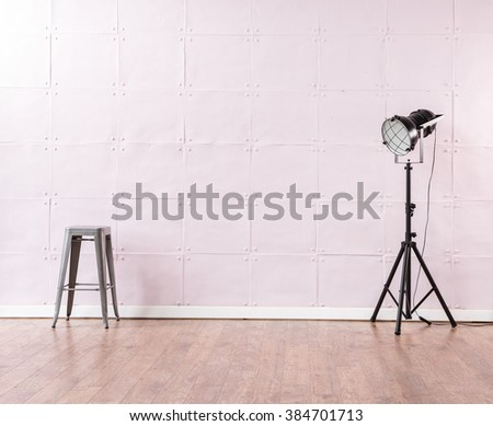 soft pink background empty wall wooden floor stool and modern black lamp decoration