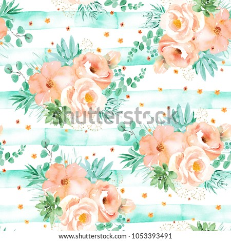 Soft pink flowers with mint green leaves bouquets on white background with green stripes. Seamless floral pattern. Watercolor painting. Hand painted illustration