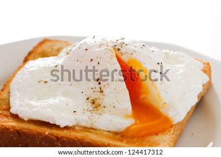Soft poached egg on toast