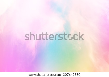 Soft rainbow filter over sky and clouds for background.