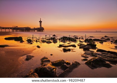 Soft rocks sunset - stock photo