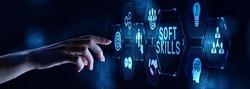 Soft skill personal development business concept on virtual screen.