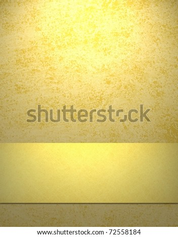 soft sunny yellow background with gold ribbon stripe, copy space, grunge texture, and highlight
