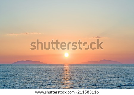 Soft sunset over eolian islands silhouette in Sicily, south Italy