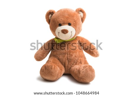 soft teddy bear isolated on white background