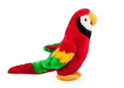 soft toy parrot isolated on white background
