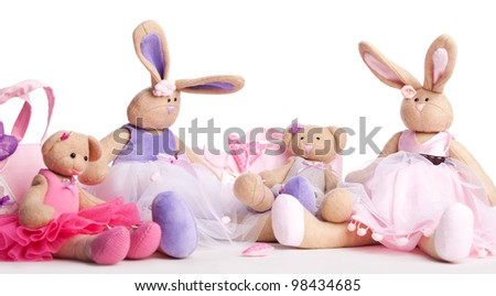 Soft toys on white background
