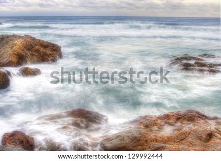 soft water on rocks at coffs harbour seascape