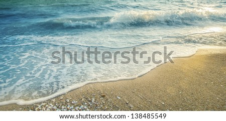 Soft wave of the sea on the sandy beach #138485549