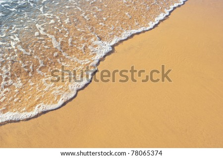 Soft wave of the sea on the sandy beach #78065374