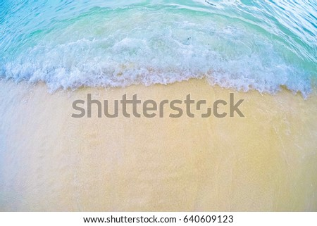 Soft wave of the tropical sea on the sandy beach. Natural summer background with copy space for background texture. #640609123