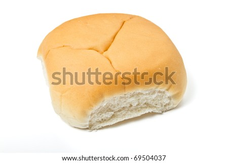 Soft white bap bread roll used for a sandwich isolated on white.