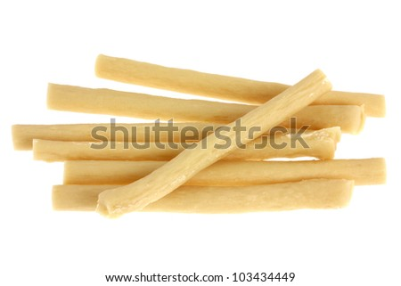Soft Yummy Dog Treats (Dog Food, Dog Chews, Snack) stick, Chicken flavor,  isolated on white
