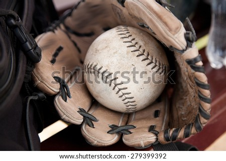 Softball Ball is in the Glove. Picture, Photo