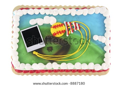 Softball or baseball theme cake with old instant photo film blank