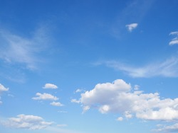 Softness areal blue sky with white cloudy. Moment natural breathing and purity of planet ozone source.