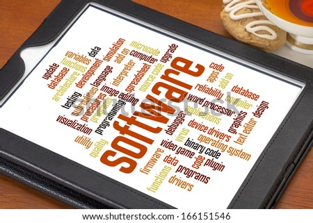 software and computer program  word cloud  on a digital tablet with a cup of tea