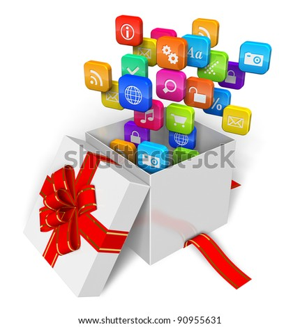 Software and multimedia concept: cloud of application icons in the gift box isolated on white background