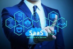 Software as a service - SaaS concept with businessman
