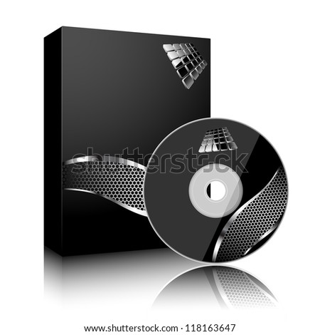 Software black box and disc isolated on white background.
