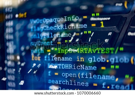 Software code development as concept. Double exposure of programming code screen and computer for software developing. #1070006660