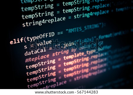 Software developer programming code. Abstract computer script code. Programming code screen of software developer. Software Programming Work Time.  #567144283