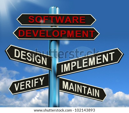 Software Development Pyramid Shows Design Implement Maintain And Verify - stock photo