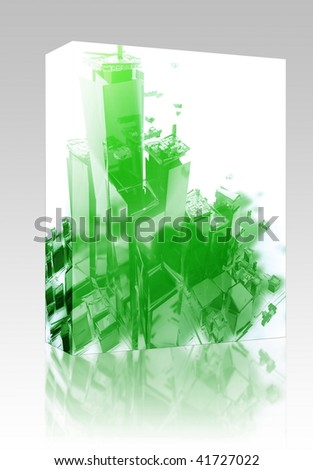 Software package box Abstract generic city with exploding breaking apart illustration