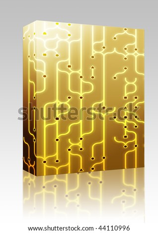 package box Abstract illustration of circuitry electronic pattern design
