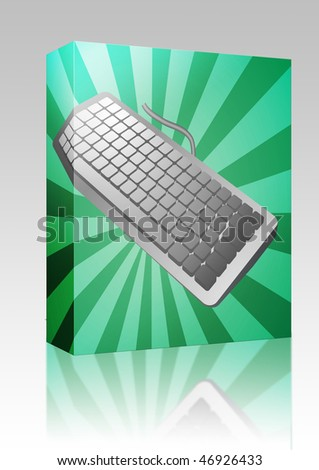 Software package box Computer keyboard peripheral hardware device illustration sketch