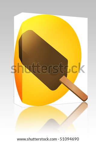 Software package box Ice cream chocolate fudgicle on stick illustration