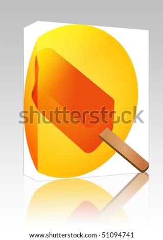 Software package box Ice cream orange posicle on stick illustration
