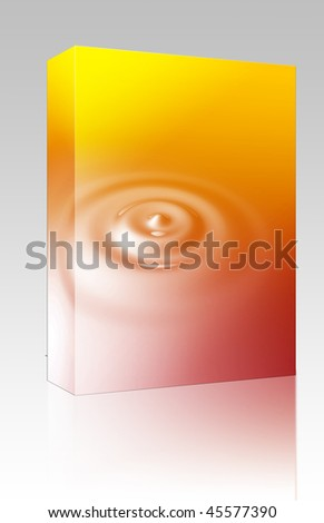 Software package box Liquid ripples with circular rings, glossy reflective surface
