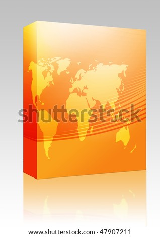... package box Map of the world illustration, with abstract curved lines