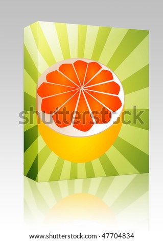 Software package box Sliced half pink grapefruit fresh fruit illustration fresh